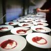 Gröt o saftsås på ekologiska jordgubbar.