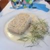 Räk & fiskpaté, vitvinssås och ris. Sagolikt god