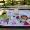 Kaffe, äppelkaka och glass, mycket gott.