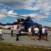 En tysk helikopter som flyger ut arbetare till gasledningen i Östersjön besökte Bunge.