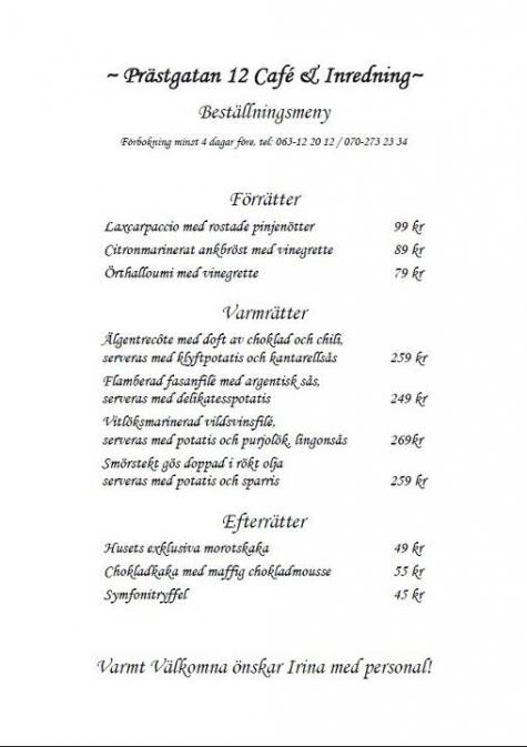 Prästgatan 12 Café och Inredning
