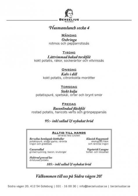 berzelius bar & matsal meny