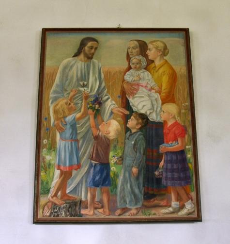 KYRKOKARTAN.SE » Lerbo kyrka » Tavlan vid dopaltaret ´Låten barnen komma  till mig´ av Ernst Söderberg år 1943