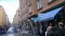 Café blå en härlig dag i juni