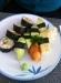 10-bitars vegetarisk sushi för 70 kronor vid lunch.