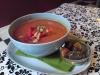 Mumsig gazpacho med krutonger! Denna åt jag hos Ulrikas i mitten av maj. Var lika god som den ser ut