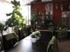 Sittplatserna är smakfullt omgivna av växter och dekorationer
