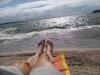 sandstrand och badhus