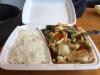 Kyckling med blandade grönsaker. Riset räckte inte till köttet.