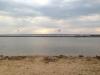 Avskiljd vik av Vättern. Till höger syns den lilla vita flytbryggan.