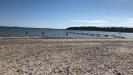 Stor strand med brygga. Fin sand i havet