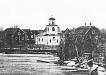 Foto av brukskyrkan ca 1875. Tornet ombyggt på 1850-talet.