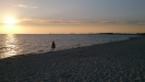 Solen går ned på Lomma-stranden
