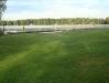 Stora gräsytor med strand och bryggor med hopptorn ute på flotten.