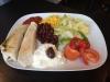 Tacos tallrik med tortillas bröd och köttfärsfyllning