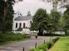 Östra sidan av Stora Skogskapellet på Skogskyrkogården.