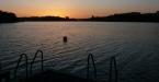 Solnedgång vid Minnebergsbryggan