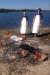 Helstekt lamm på stranden