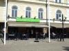 På Café Ströget har man bra utsikt över torget sommar som vinter!