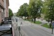 Utsikt mot Storgatan och järnvägsstationen i Hallsberg.