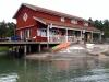 Restaurang- och café-delen där man kan lägga till med båten.