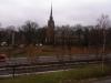 Nacka kyrka sett från Gamla Värmdövägen och Kyrkviken