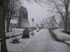 Årets första snödag 3 jan 09 ligger kyrkan högt i byn