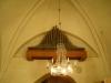Orgelpiporna på vägger är numera tysta. Notera manshuvudet strax nedom på höger sida.