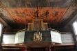 Helvetets fasor i taket ovanför orgeln