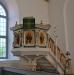 Predikstolen från 1728 som räddades undan branden i gamla kyrkan