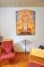 Klassisk predikstol från tiden. Textilen på väggen av Sara Lindros Svensson