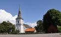 föreställande gamla kyrkan utförd av folkskollärare  Karl Jacob Nilsson (1844-1926)