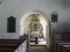 Korvalvet med hörnstenar på var sida. Här delade prästen ut nattvardsbrödet på medeltiden.