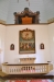 Draperimålningen och altartavlan har en gång suttit samman över den gamla predikstolen