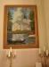 Målning med kyrkbåt till kyrkan