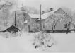Kyrkskolan och Ekeby kyrka i vinterskrud. omkring år 1954  kyrkskolan saknar källare foto G Svedberg