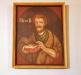 Sex inramade målningar från (sannolikt) ett gammalt läktarbröst.