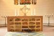 Altaret av slaggsten från Forsbacka bruk har ett inmurat dokumentskrin