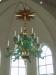 Vacker allmogestil på denna nya ljuskrona i den nya kyrkan i Trönö