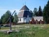 Viksjö kyrka med klockstapeln från Högsjö