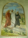 Den tidigare altartavlan ´Emmausvandrarna´ av Karl Tirén hänger nu över dopaltaret