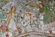 Jesusbarnet med papegoja och fikonkvist. Två änglar håller en rosenkrans.