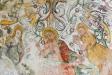 Kristus som domare. Från hans mun utgår nådens lilja och lagens svärd. Maria och Johannes.