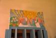 Framstycket på kororgeln från 1982. Harry W Svensson har snidat och målat