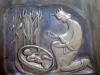 Detalj av bänksida - Moses blir funnen i vassen. Foto:Bertil Mattsson
