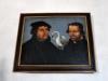Porträtt av Luther och Melanchton med svanen emellan sig