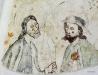 Bartholomeus med kniv i handen och Jakob d.ä. i pilgrimshatt och snäckskal.