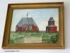 Målning som visar hur gamla kyrkan såg ut