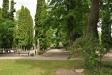 Kyrkogården är verkligen parkliknande