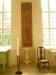 Dopskålsställ i trä från 1780-talet. Textilen av K.E. (Kerstin Ekengren)